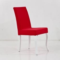 HİRA SANDALYE - Beyaz Ayaklı Kırmızı Lükens Sandalye